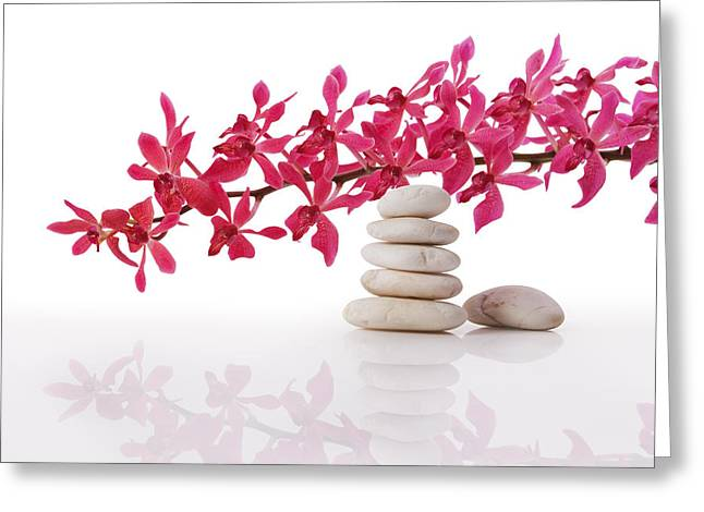 Wellbeing Greeting Cards - Red Orchid With Balance Stone Greeting Card by Atiketta Sangasaeng