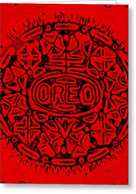 Oreo Greeting Cards - Red Oreo Greeting Card by Rob Hans