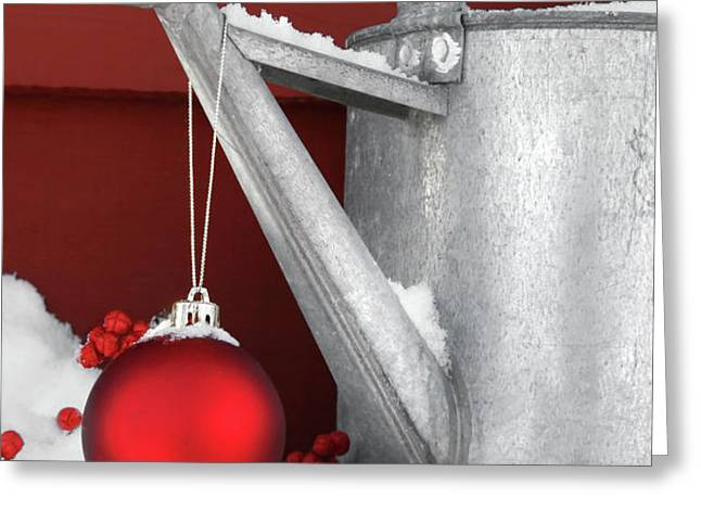 Red ornament on watering can Greeting Card by Sandra Cunningham