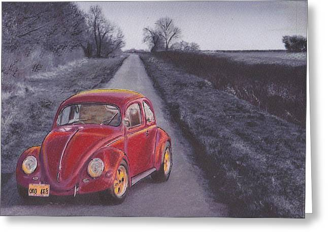 Vw Beetle Pastels Greeting Cards - Red Oxo Greeting Card by Sharon Poulton