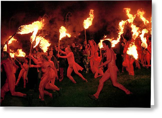Informal Portraits Greeting Cards - Red-painted revelers Greeting Card by Jim Richardson
