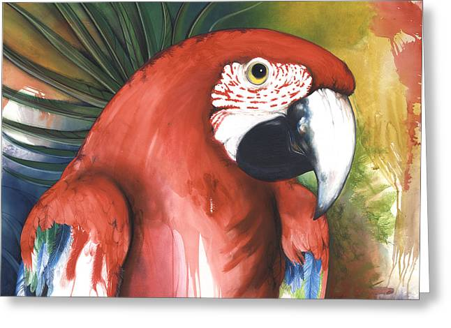 Roots Mixed Media Greeting Cards - Red Parrot Greeting Card by Anthony Burks Sr