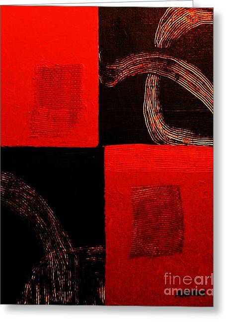 Patch Mixed Media Greeting Cards - Red Patches Greeting Card by Marsha Heiken