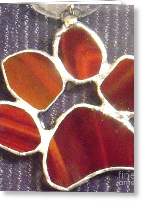 Canine Glass Art Greeting Cards - Red Paw  Greeting Card by Djl Leclerc