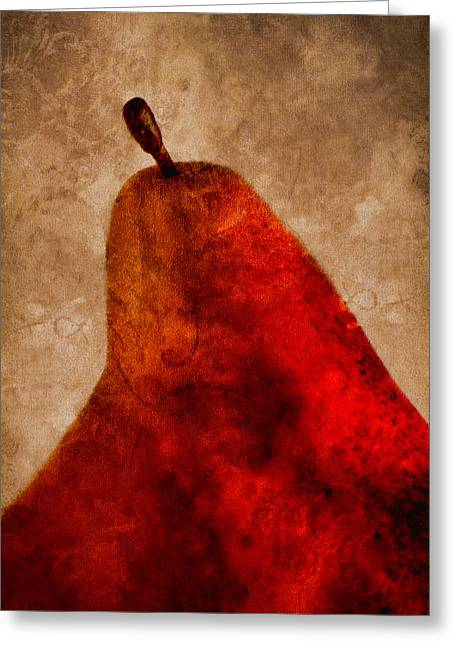 Harvest Art Greeting Cards - Red Pear II Greeting Card by Carol Leigh