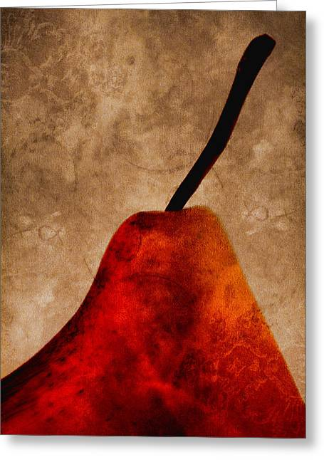 Harvest Art Greeting Cards - Red Pear III Greeting Card by Carol Leigh