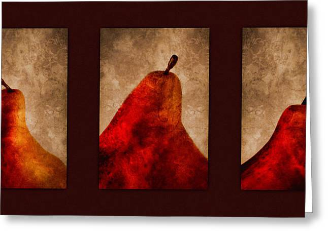 Brown Pears Greeting Cards - Red Pear Triptych Greeting Card by Carol Leigh