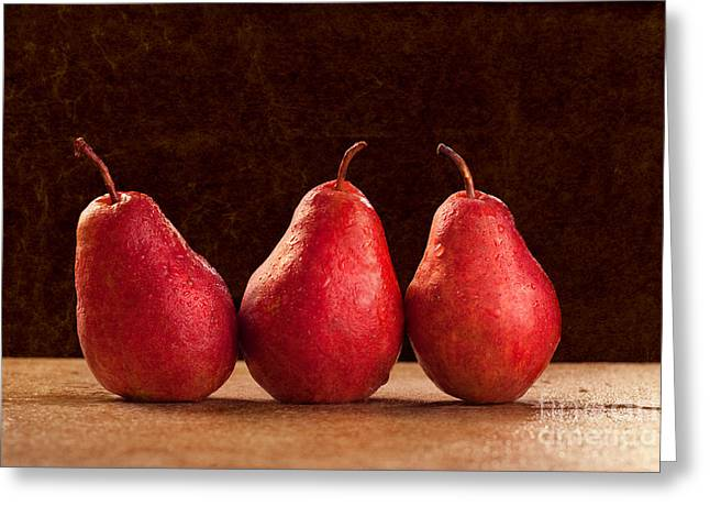 Pear Art Greeting Cards - Red Pears Greeting Card by Cindy Singleton