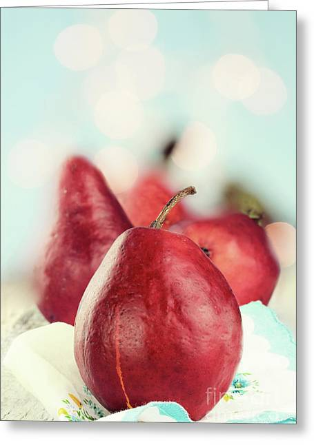 One Pear Greeting Cards - Red Pears Greeting Card by Stephanie Frey