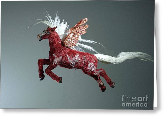 Fantasy Art Sculptures Greeting Cards - Red Pegasus Greeting Card by Kathy Holman