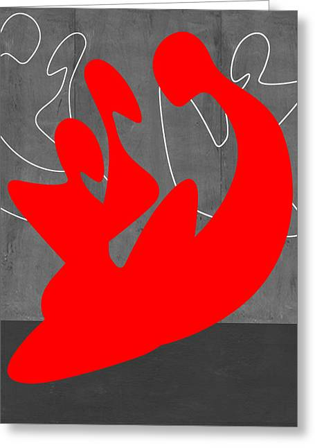 Red People Greeting Card by Naxart Studio