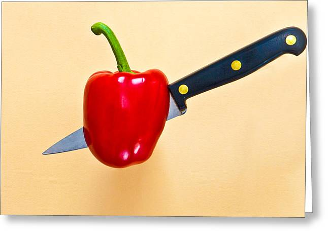 Capsicum Greeting Cards - Red pepper Greeting Card by Tom Gowanlock
