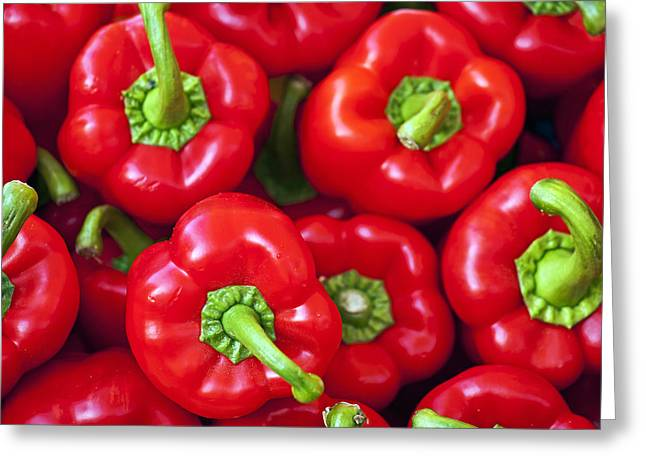 Crisp Greeting Cards - Red Peppers Greeting Card by Joana Kruse
