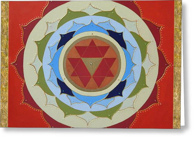 Empowerment Greeting Cards - Red Petals Mandala Greeting Card by Jean Kowalski