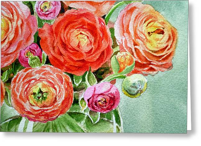 Ranunculus Greeting Cards - Red Pink and Gorgeous Greeting Card by Irina Sztukowski
