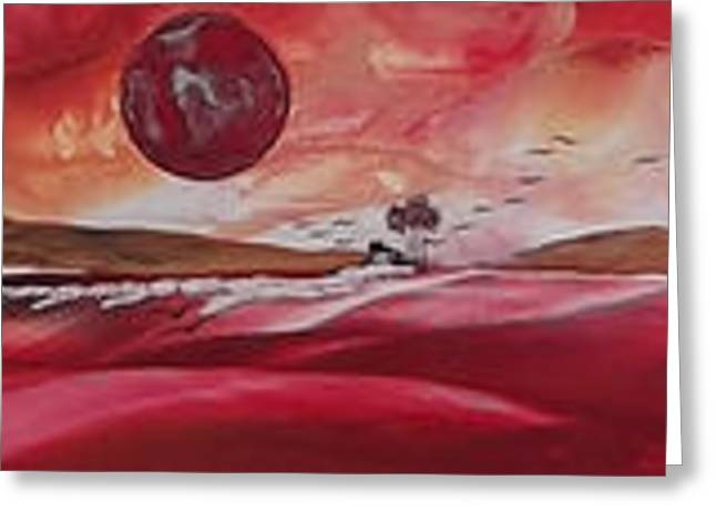 Lessons Greeting Cards - Red Planet Rise Greeting Card by Danita Cole