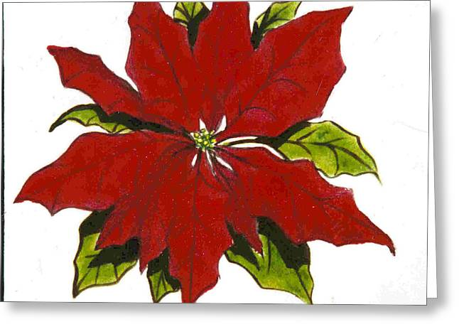 Reds Ceramics Greeting Cards - Red Poinsettia Greeting Card by Dy Witt