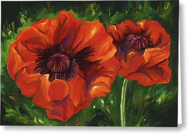 Red Poppies Greeting Card by Aaron Rutten