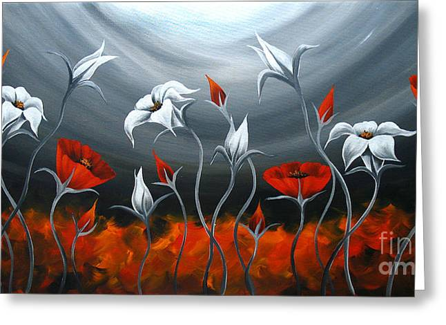 Red Photographs Paintings Greeting Cards - Red Poppies and Tulip Greeting Card by Uma Devi