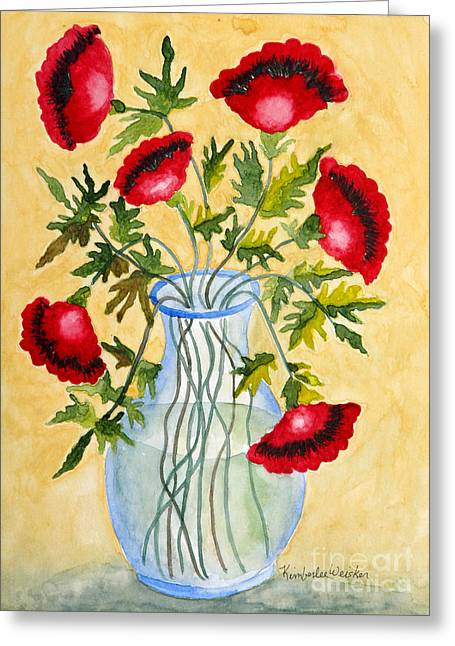 Print On Acrylic Greeting Cards - Red Poppies in a Vase Greeting Card by Kimberlee Weisker