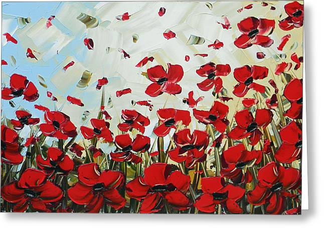 Contemporary Art By Christine Greeting Cards - Red Poppy Field Greeting Card by Christine Krainock