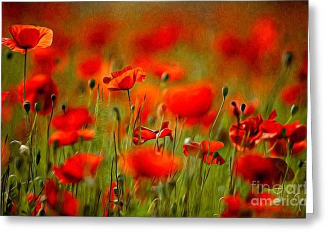 Red Poppy Flowers 02 Greeting Card by Nailia Schwarz