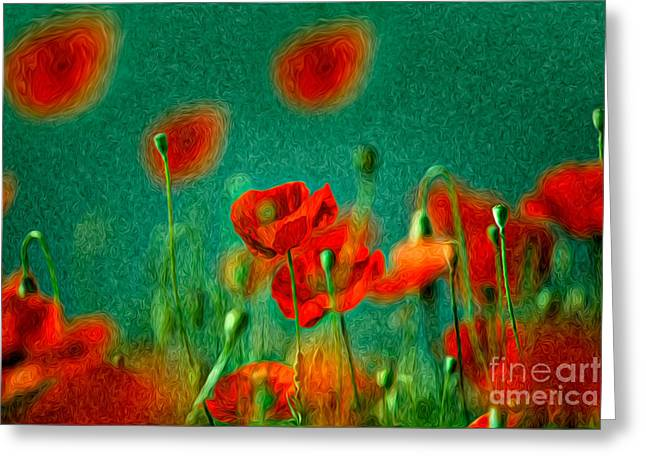 Botanicals Greeting Cards - Red Poppy Flowers 07 Greeting Card by Nailia Schwarz