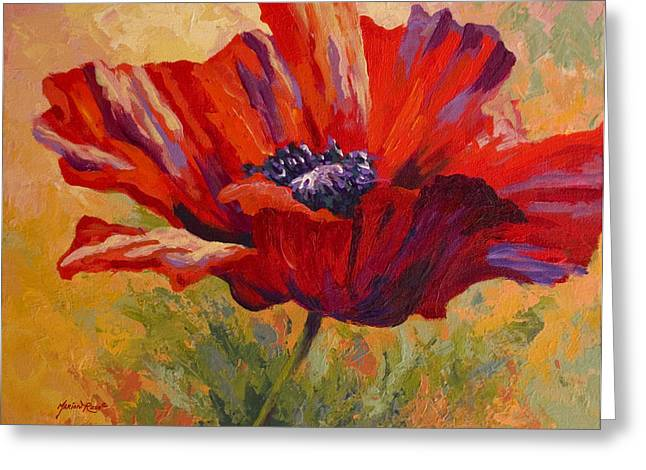 Fall Vineyard Greeting Cards - Red Poppy II Greeting Card by Marion Rose