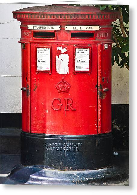 Pillar Box Greeting Cards - Red Post Box Greeting Card by Dawn OConnor