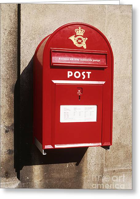 Wall-mounted Greeting Cards - Red Postbox Mounted on Wall Greeting Card by Jeremy Woodhouse