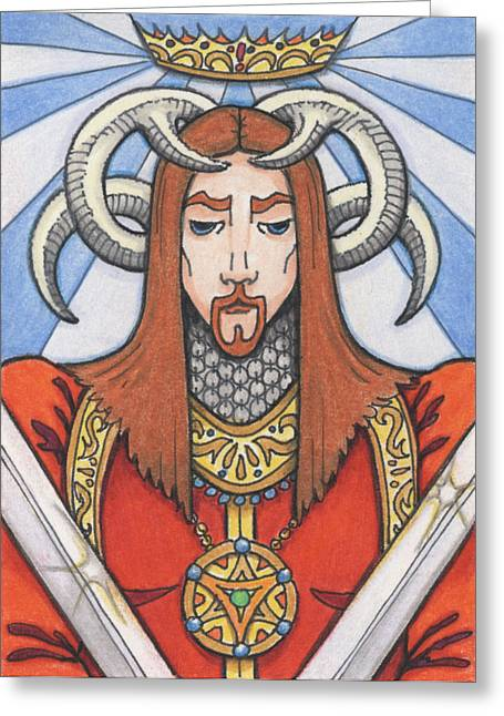 Aceo Drawings Greeting Cards - Red Prince Greeting Card by Amy S Turner