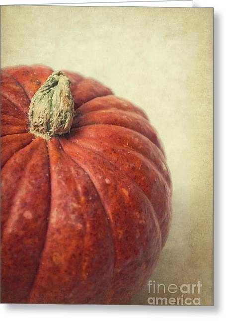 Pumpkins Mixed Media Greeting Cards - Red pumpkin Greeting Card by Angela Doelling AD DESIGN Photo and PhotoArt