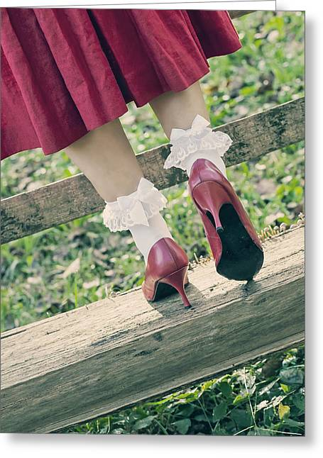 Anonymous Greeting Cards - Red Pumps Greeting Card by Joana Kruse