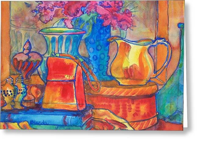 Pitcher Paintings Greeting Cards - Red Purse and Blue Line Greeting Card by Blenda Studio