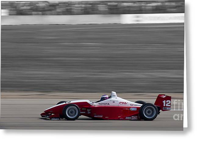 Indy Car Greeting Cards - Red Racer Greeting Card by Darcy Michaelchuk