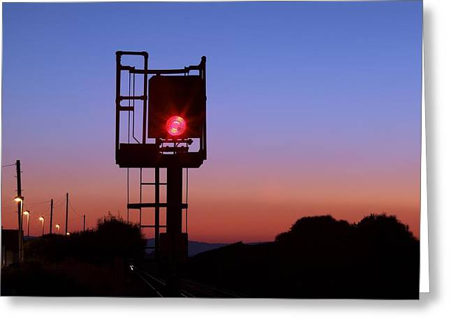 Aspect Greeting Cards - Red Railway Signal Greeting Card by Martin Bond