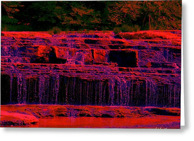 Indiana Landscapes Digital Art Greeting Cards - Red River Falls Greeting Card by Ed Smith