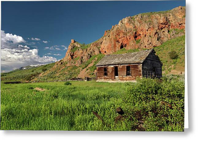 Old Cabins Photographs Greeting Cards - Red Rock Cabin Greeting Card by Leland D Howard
