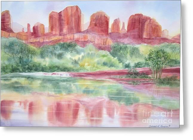Oak Creek Paintings Greeting Cards - Red Rock Canyon Greeting Card by Deborah Ronglien