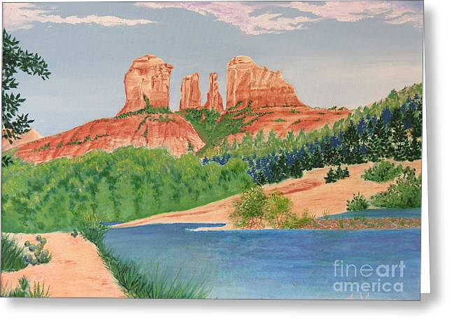 Red Rock Crossing Paintings Greeting Cards - Red Rock Crossing Greeting Card by Aimee Mouw