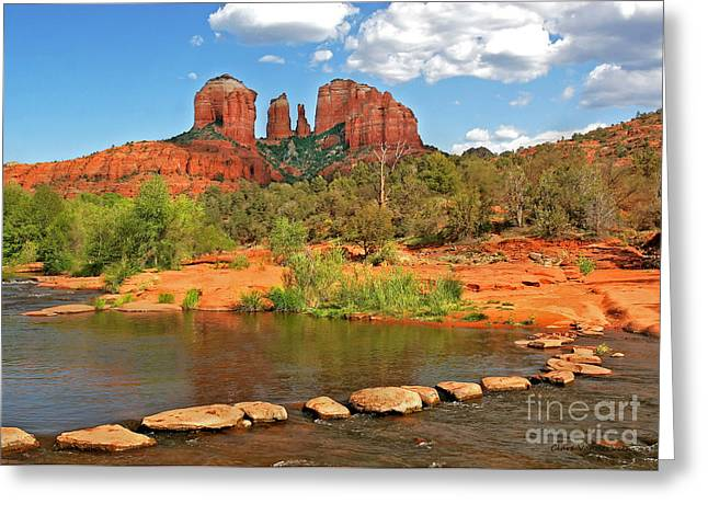 Red Rock Crossing Greeting Cards - Red Rock Crossing Greeting Card by Clare VanderVeen
