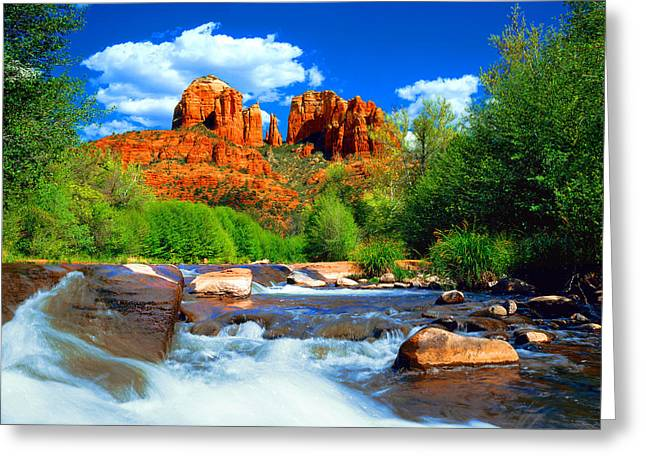 Oaks Greeting Cards - Red Rock Crossing Greeting Card by Frank Houck