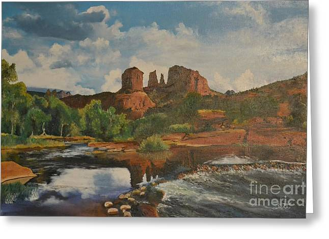 Red Rock Crossing Paintings Greeting Cards - Red Rock Crossing Greeting Card by Suzette Kallen