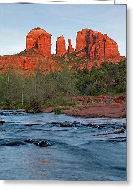 Red Rock Sunset Greeting Card by Sandy Sisti