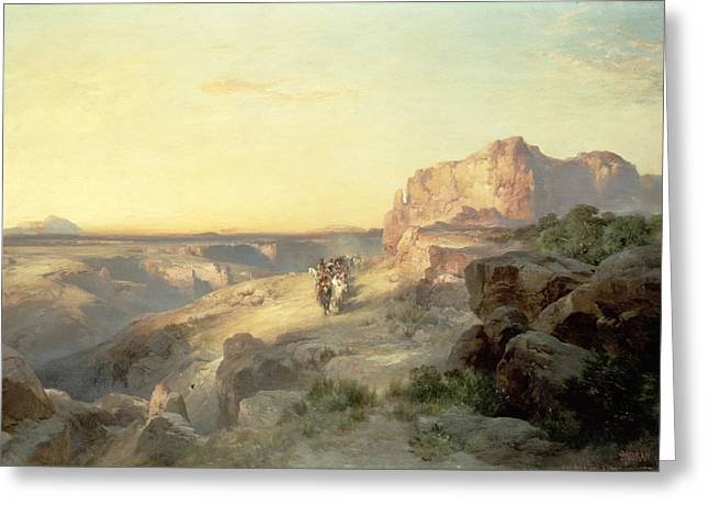 Horseman Greeting Cards - Red Rock Trail Greeting Card by Thomas Moran