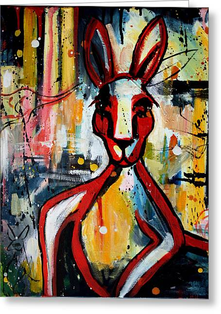 Abstract Expressionist Greeting Cards - Red Roo Greeting Card by Leanne Wilkes