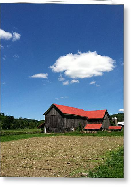 Red Roofed Barn Greeting Cards - Red Roof Barn Greeting Card by Deborah Colony