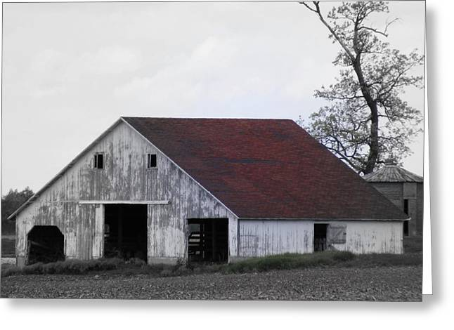 Indiana Landscapes Digital Art Greeting Cards - Red Roof Barn Greeting Card by Ed Smith