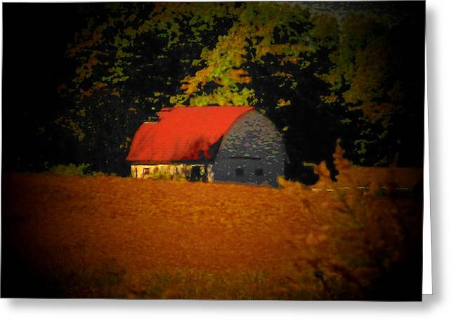 Rural Indiana Greeting Cards - Red Roof Barn Greeting Card by Joyce Kimble Smith