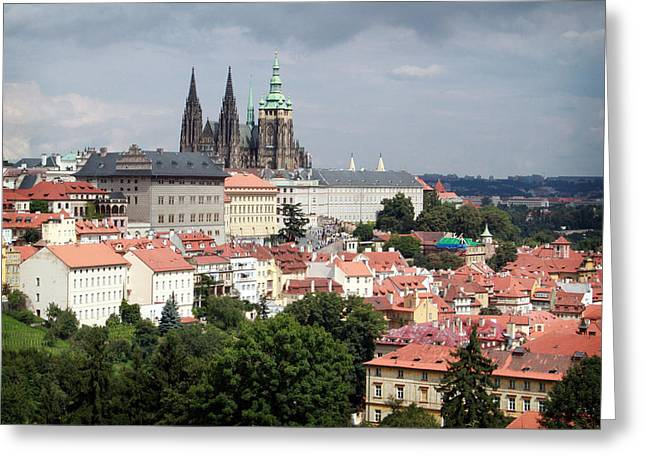 Prague Castle Greeting Cards - Red Rooftops of Prague Greeting Card by Linda Woods